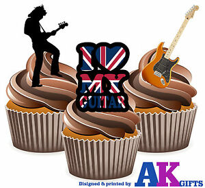 I love trompette mix 12 Comestible Stand Up Cup glaçages pour gâteau décorations blues jazz