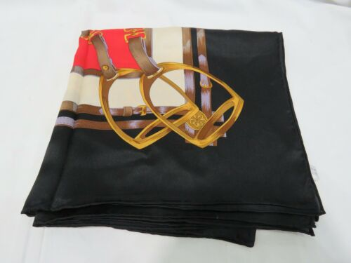 "100% Authentic Silk Scarf Equestrian Style 41"" x 4"