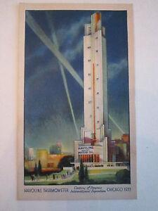 """UNUSED 1933 CENTURY OF PROGRESS """"HAVOLINE THERMOMETER"""" POSTCARD - LOT 1 - TUB EE"""