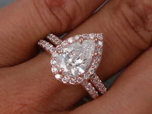 5504cc3c586e6 Details about 2.42 CARATS TW PEAR SHAPE DIAMOND ENGAGEMENT AND WEDDING RING  SET G SI1 $6,990