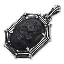 King Baby* .925 Silver Rivet Framed Pendant w Jet DOTD Skull on Silver Bracelet