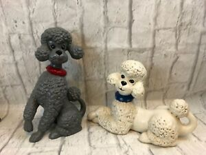 Image Is Loading Atlantic Mold Poodle Figurines Gray White Vintage Statues