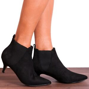 Black Kitten Heel Boots