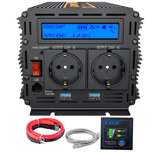Inverter 1500W 3000W 24V 220V ONDA PURA Inversor Convertidor pantalla LCD USB