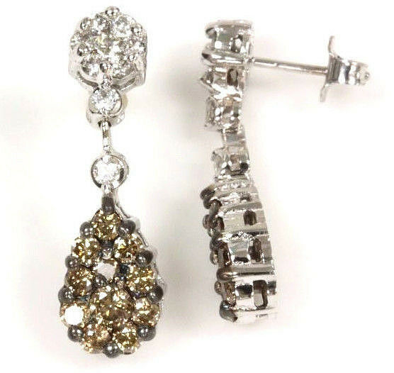 b07658943dc6d Champagne Natural tw ct 1.8 & Diamond Earrings Dangle gold White 14k ...