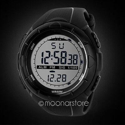 Hombres LCD Digital Cronómetro Fecha goma impermeable Relojes de pulse deportivo