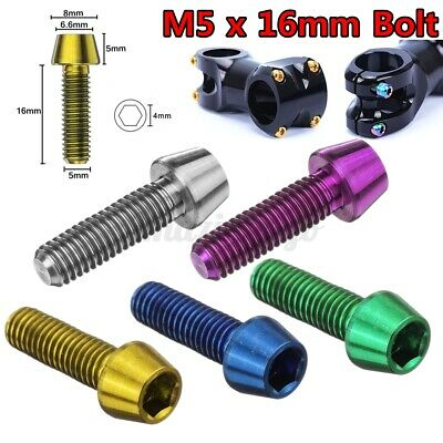 A Washer M5x16mm titanium Ti Bolt Allex Hex Bike Stem Tapered Head Screw