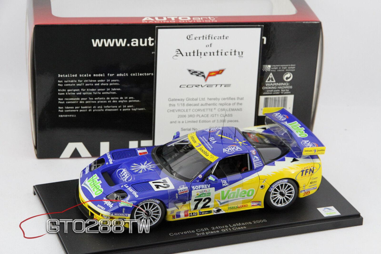 Autoart 1,18 chevrolet corvette c5-r 24h lemans gt1 2006   72 (c5r) le 3000 pcs