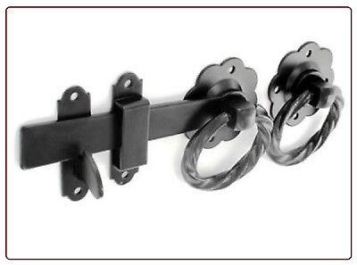 """6/"""" Garden TWIST Quality Metal Ring Gate Latch Set or Door Catch Handle BLACK D5"""