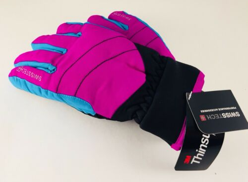 SwissTech 3M Thinsulate Girls/' Ski Gloves in Floral Pink or Hot Purple//Blue