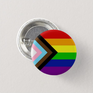Pride Flag Pinback Button Inclusive LGBTQ