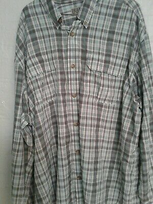 Duluth Trading Mens Red White Blue 3XL Shirt Plaid Long Sleeve Button Down