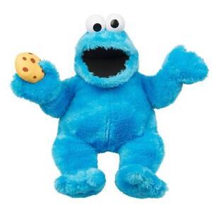 Sesamstrasse-Pluesch-Kruemelmonster-mit-Sound-37cm-Handpuppe-Cookie-Monster-NEU