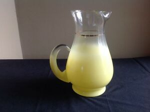 Mid-Century-Modern-Frosted-Yellow-Glass-Pitcher