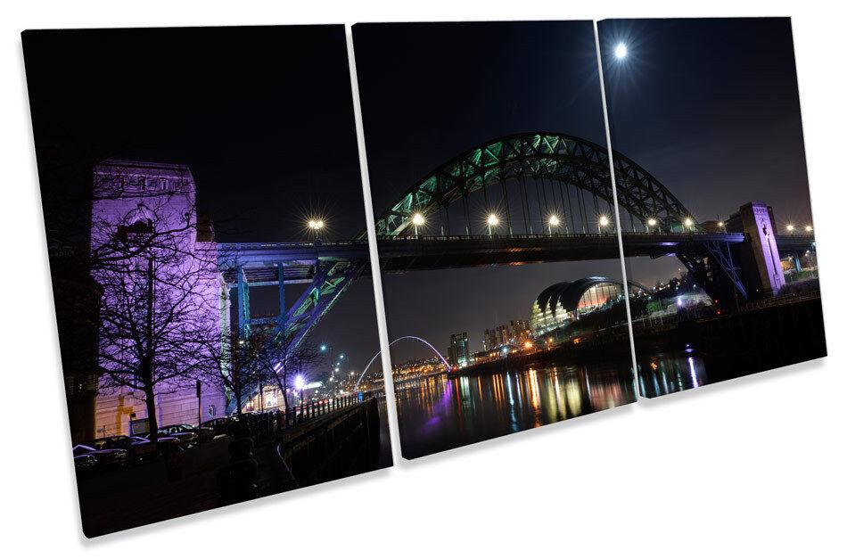 Tyne PONTE Newcastle NOTTE triplicare CANVAS Wall Art Art Art Print Picture 3da387