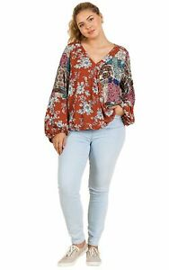 Rust-Floral-and-Paisley-Mixed-Print-Long-Puff-Sleeve-V-Neck-Crossbody-Top