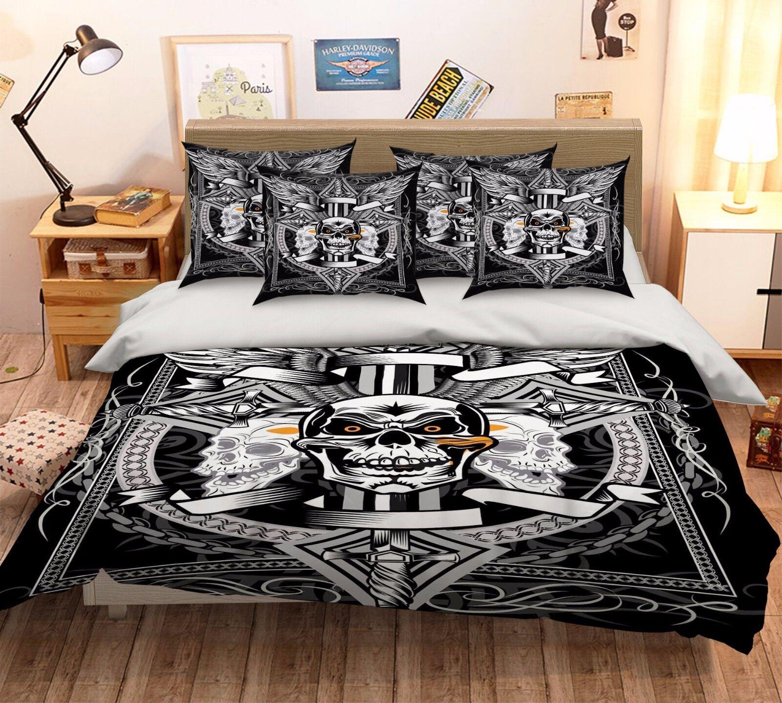3D Skulls 225 Bed Pillowcases Quilt Duvet Cover Set Single Queen King Size AU