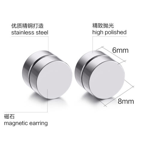 Surgical Steel Magnetic Round Stud Earrings Magnet Ear Jewelry Anti Allergy DS42