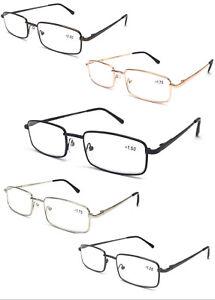 L453-Classic-Design-Reading-Glasses-Spring-Hinges-Square-Metal-Specs-Comfort-Arm