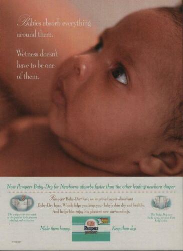 1997 Pampers Diapers Vintage Magazine Ad Page Sweet Baby Face