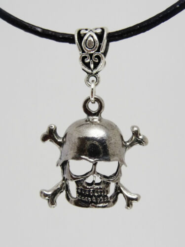Pewter Skull and Crossbones Pendant on Leather Necklace