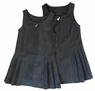 Girls Two Pack School  Pinafore Dresses Zip Front  Grey 3-4Y up to 8-9 years