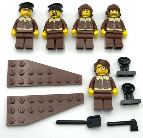 LEGO 5 NEW WORLD WAR 1 2 PILOT MINIFIGURES WITH PLANE PARTS FIGURES