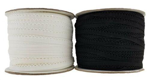 Knicker /& Decorative Elastic Black /& White sold in 5 Metre Lengths