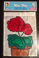 GERANIUM FLORAL FLOWERS SPRING SUMMER APPLIQUE MINI WINDOW GARDEN YARD FLAG NEW