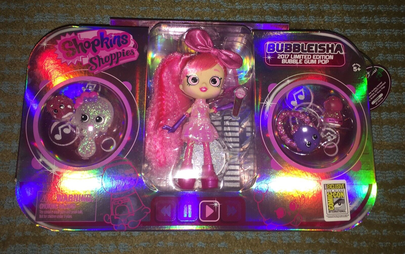 SDCC 2017 SHOPKINS SHOPPIES BUBBLE GUM POP BUBBLEISHA 1 1500 LIMITED EXCLUSIVE