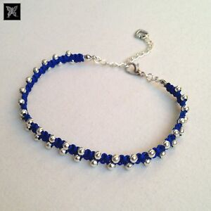 Blue-amp-Silver-Beaded-Adjustable-Macrame-Anklet-w-Love-Heart-Charm