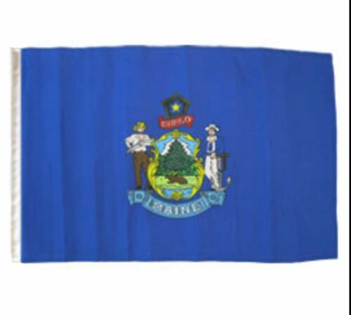 """12x18 12/""""x18/"""" State of Maine Sleeve Flag Boat Car Garden"""