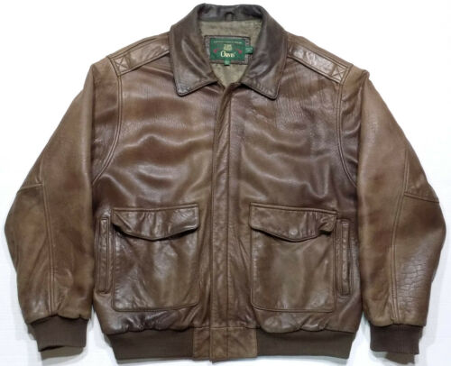 Orvis Lambskin Brown Leather Bomber Jacket Mens Si