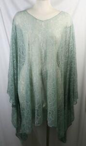 Plus size poncho style top//tunic,green//pink,mixed pattern,size1X-2X,3X-4X