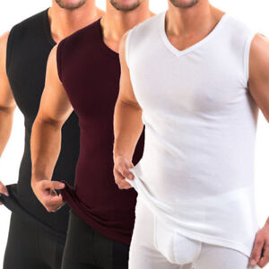 Men-039-s-Sleeveless-V-Neck-Muscle-Sport-Gym-Undershirt-T-shirts-Tank-Vest-Tops-Tee