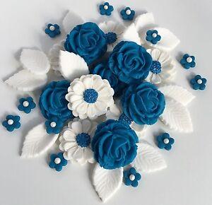 Royal Blue White Roses Bouquet Wedding Cake Decorations Sugar