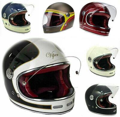 Viper F656 Fibreglass Full Face Motorcycle Retro Classic Helmet Burgundy XS