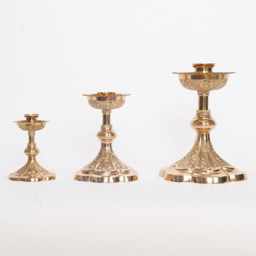 Solid Brass #44 Church Altar Candlestick and Altar Cross Traditional Chapel