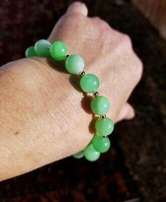 14k Solid GOLD Natural 2.5mm Jade Green *TESTED GENUINE* Bead Bracelet   ** Many More Fine Gem Bracelets see other items **