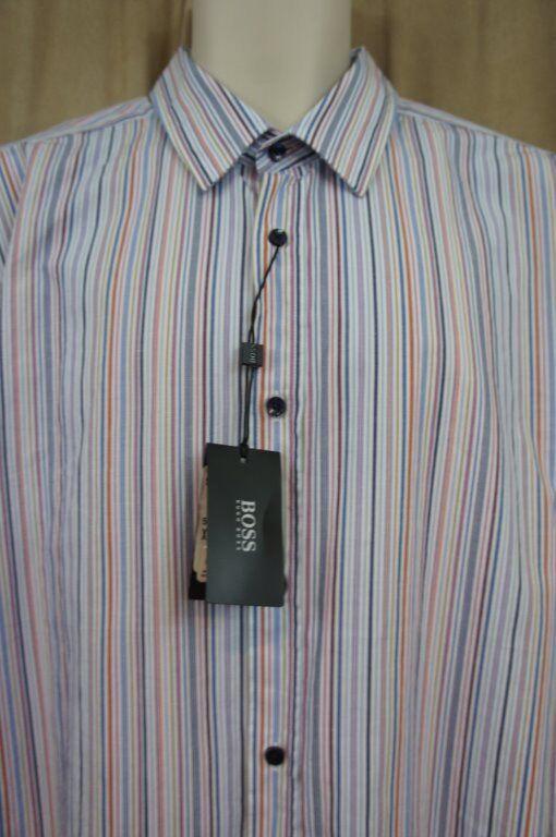 Hugo Boss Mens Casual Shirt SZ XL Multi Striped Ronny Slim Fit Business Casual