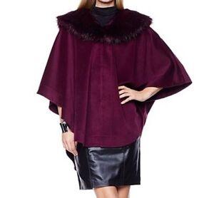 Adrienne-landau-Women-039-s-Winter-Fall-fur-Cape-Wrap-poncho-Jacket-plus-LXL1X2X3X4X