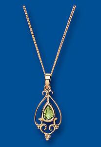 Peridoto-Colgante-Collar-Y-Oro-Amarillo-Estilo-Victoriano