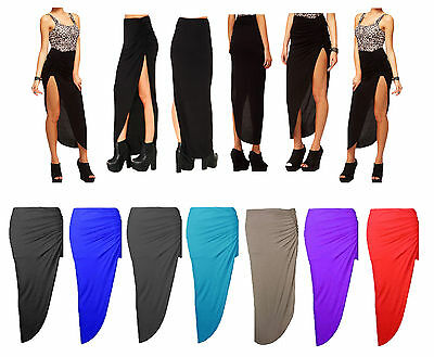 LADIES WOMENS RUCHED SIDE SPLIT MAXI SKIRT LONG GATHER SIDE CUT GYPSY SKIRT