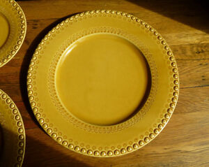 Image is loading CE-Corey-Fantasia-Bordallo-2-Dinner-Plates-Honey- & CE Corey Fantasia Bordallo (2) Dinner Plates Honey beaded edge ...