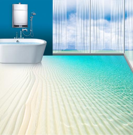 3D Sandy Beach Sea 55 Floor WallPaper Murals Wall Print 5D AJ WALLPAPER UK Lemon
