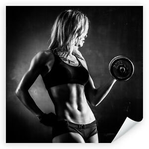 Postereck-3534-Poster-amp-Leinwand-Quadrat-Frau-Fitness-Hantel-Sport-Training