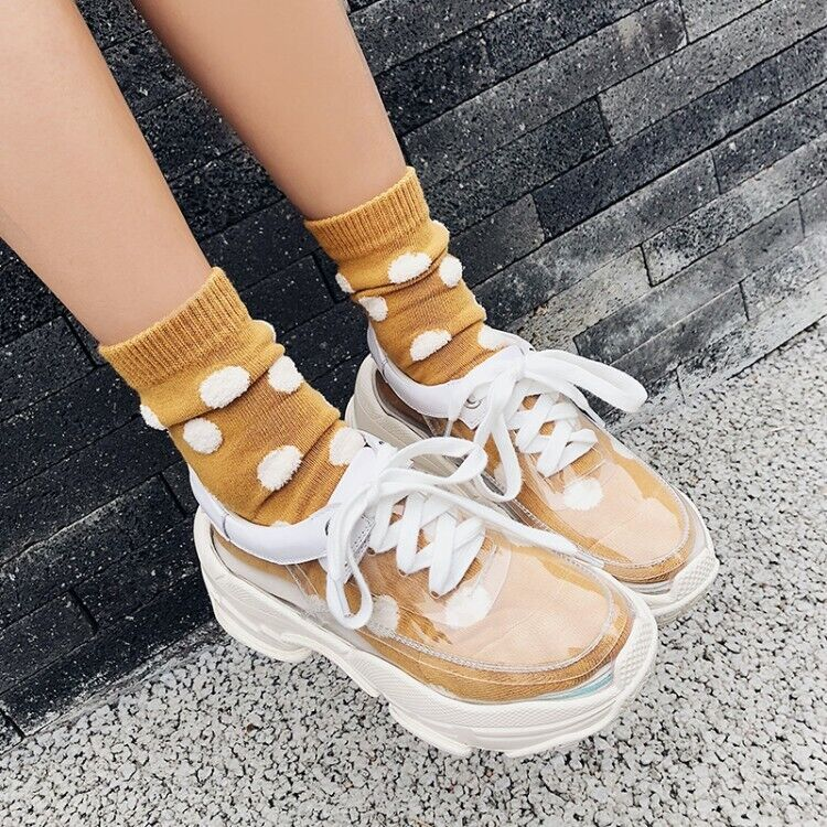Womens Round Toe Lace up Wedge Heels shoes Athletic Sport Transparent New Muk15