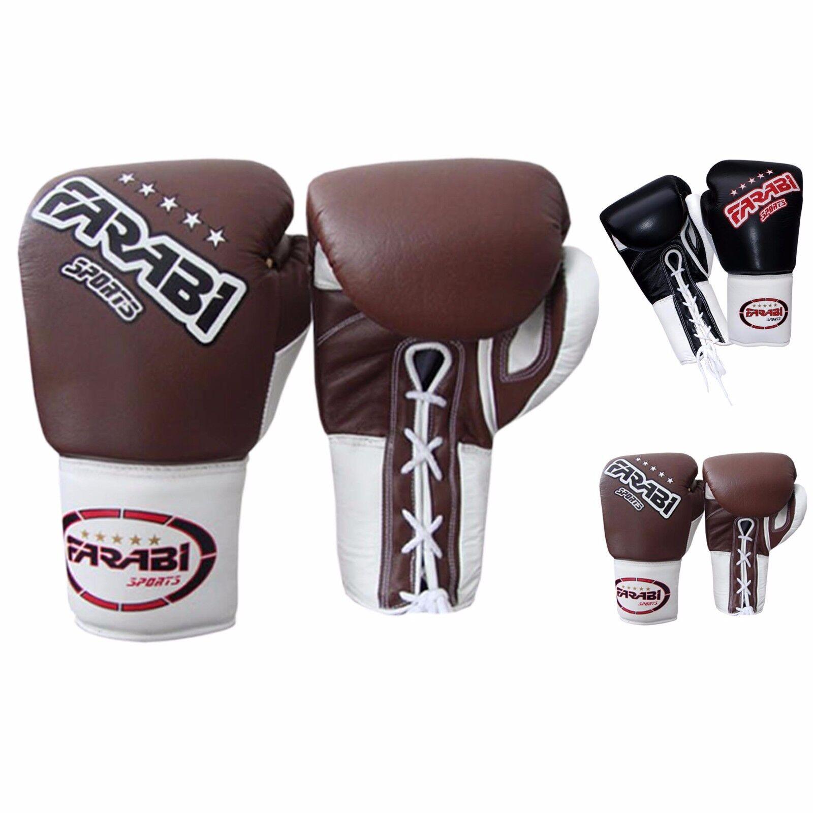 Farabi Laces Genuine Leder Boxing Gloves