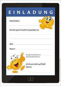 12 lustige tablet-einladungskarten mit smileys kindergeburtstag, Einladungsentwurf