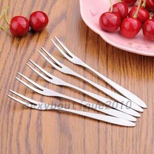 10pcs Stainless Steel Cocktail Forks Fruit Cake Forks Dessert Forks for Party